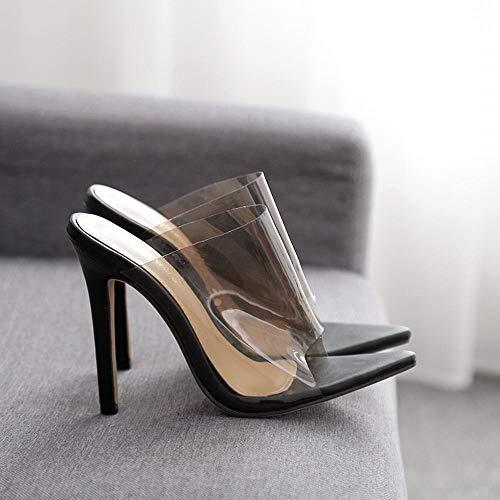 EGS-Shoes Süßigkeit-Farben-transparente Spitze reizvolle Absatz-Sandelholze Damen-hohe Absätze,Grille Schuhe (Farbe : Schwarz, Size : 36)