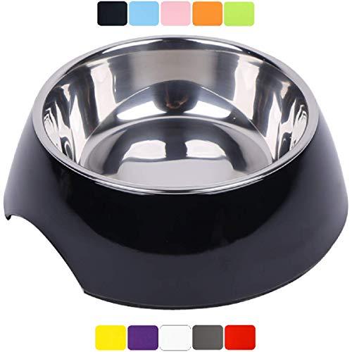 DDOXX Fressnapf, rutschfest   viele Farben & Größen   für kleine & große Hunde   Futter-Napf Katze   Hunde-Napf Hund   Katzen-Napf Edelstahl-Napf   Melamin-Napf   Schwarz, 160 ml