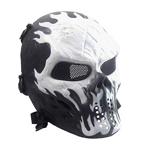 Airsoft Paintball Maske Skelett Totenkopf komplett Taktik CS Spiel Halloween Dekoration Cosplay Captain Feuer Schwarz Siegelring Grün Schädel, Wildfire