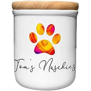 Cadouri Keramik Leckerli-Dose NASCHIES – personalisiert – mit Name deines Hundes┊Snackdose Keksdose Aufbewahrungsdose┊tolle Geschenkidee für Hundeliebhaber