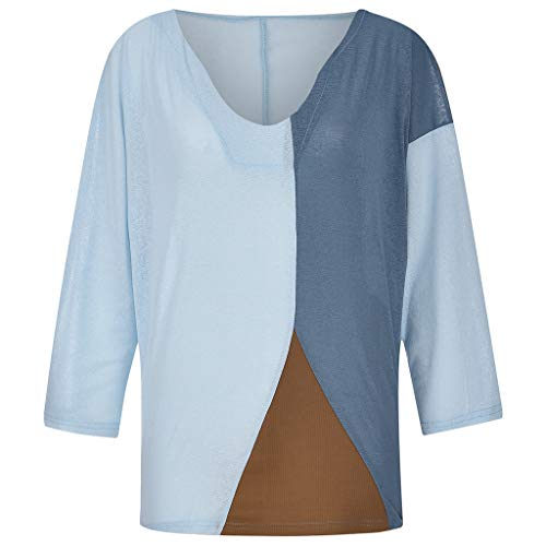 3/4-Ärmel-gerippter Pullover (Oberteile Damen Sexy,TTLOVE Oberteil Herbst Locker O-Ausschnitt Long Elegant Langarm Tops Nähen Streifen Tunika Party Stretch T-Shirt Shirts Bluse Pullover (Blau,XXXXXL))