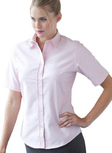 Klassische Ladies Kurzarm Oxford Bluse White