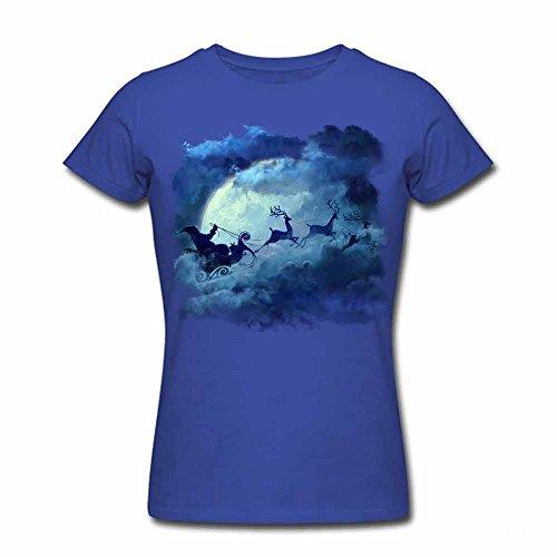 Women Cotton Merry Christmas Funny Printed T-Shirt S