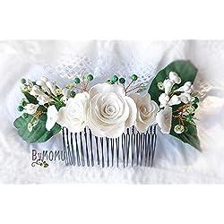 GARDENIEN Blume Haarschmuck-Blumen Porzellan-kaltes Porzellan Braut Haarschmuck-Haarkamm
