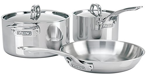 Viking 3-PLY 5 Piece Cookware Starter Set, Silver by Viking