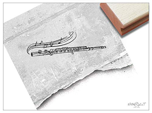 Stempel Motivstempel Flöte Querflöte - 3 Größen - Bildstempel Musikinstrument Karten Gutschein Basteln Deko Scrapbook Geschenk - zAcheR-fineT