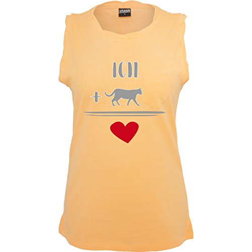 Statement Shirts - Katzen-Liebe - ärmelloses Damen T-Shirt mit Brusttasche Neon Orange