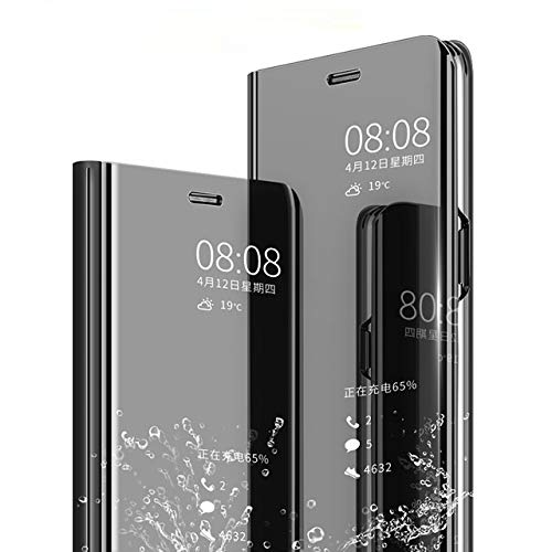 AE Mobile Accessories (TM) Mirror Flip Cover Semi Clear View Smart Cover Phone S-View Clear, Kickstand FLIP Case for VIVO Y83 PRO Black (Sensor flip is not Working) … …