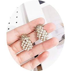 TOKO Pendiente de piña perla oro Stud Mujeres Niñas