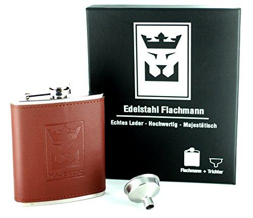 MAJESTIC Edelstahl-Flachmann, Hochwertige Geschenkbox, Echt-leder Braun, Praktischer Einfülltrichter inklusive, Sicherer Schraubverschluss, 200ml, 7oz