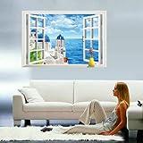3D Wandtattoo Wandtattoo Schlafzimmer Wandstickerwohnzimmer Hintergrund Wand Dekoration Landschaftsmalerei Wandaufkleber Kreative 3D Dreidimensionale Mittelmeer Fenste