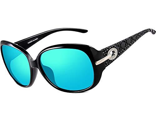 ATTCL Damen Mode Polarisiert UV400 Plaid Oversize Sonnenbrille (Blau 6214)