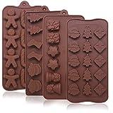 YuCool Silikon-Backformen für Süßigkeiten, Weihnachtsmotiv, 4 Arten