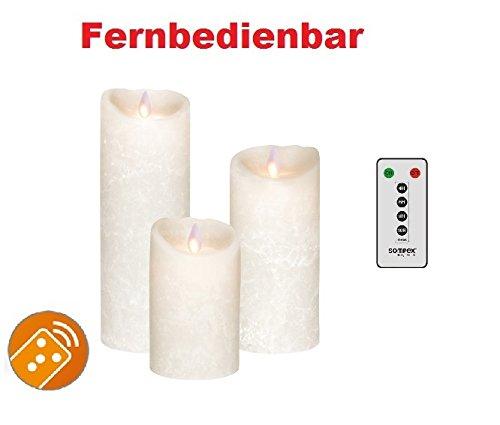 Juego de 3. Sompex Vela/velas cera real LED operable V14Blanco Frost (Frosted Blanco/Blanco Escarchado) 8x 12,5cm–8x 18cm–8x 23cm–Con mando a distancia. Bundle Incluye mando a distancia. (Juego de 3)