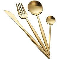 Buyer Star Cubiertos de Oro Acero Inoxidable 4 piezas Lujo Cubertería Vajilla Cuchillo Tenedor Cuchillo Dorado