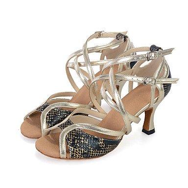 Silence @ pour femme Chaussures de danse latine en similicuir évasé Talon doré