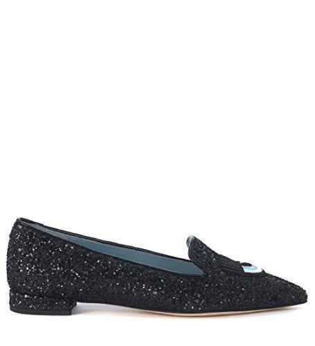 Chiara Ferragni Collection Women s Chiara Ferragni Logomania Black Glitter  Pointed Flat Shoes 36(EU) 50a35f7c482