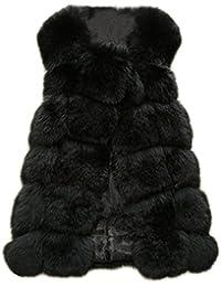 MIOIM® Mujer Chaqueta Del Invierno Chaleco De Piel Sintética de Fox Chaqueta Sin Manga Jacket Abrigo