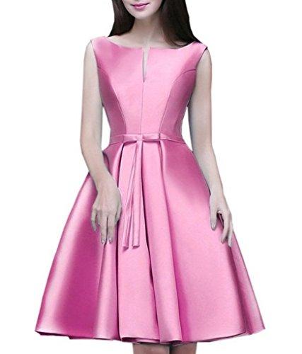 Royaldress Elegant Weiss Satin Glitzer Abendkleider Partykleider Cocktailkleider Vintag Brautmode Mini Kurz Rosa