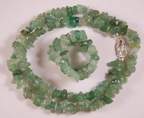 Aventurine Verte Cristal puce Collier et Bracelet
