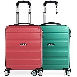 ITACA - Pack 2 Maletas de Viaje Rígidas 4 Ruedas 55x40x20 cm Cabina Trolley ABS. Equipaje de Mano. Resistentes y Ligeras. Mango y Asa. Vuelos Low Cost Ryanair, Candado. T71650P, Color Coral/Aguamarina
