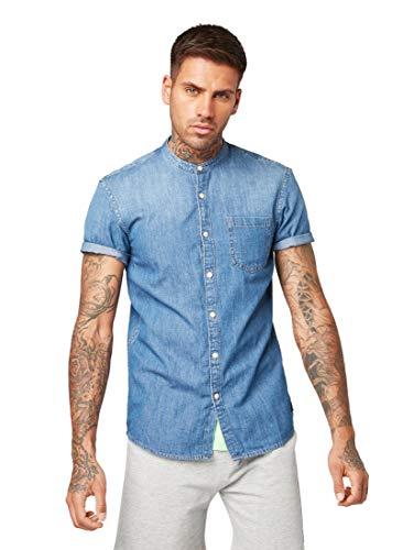 TOM TAILOR Denim Herren Kurzarm Hemd Freizeithemd, Blau (Stone Blue Denim 10141), X-Large (Herstellergröße: XL)
