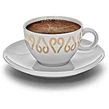Arzum Okka Porcelain Turkish/Greek or Arabic Coffee Cups and Saucer, Set of 2, White