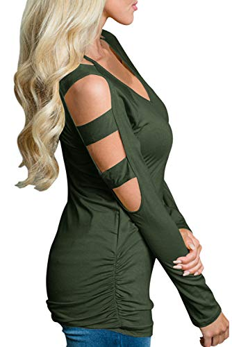 Eanklosco Women's Long/Short Sleeve V Neck Cold Shoulder Cut Out T Shirts Casual Tunic Tops