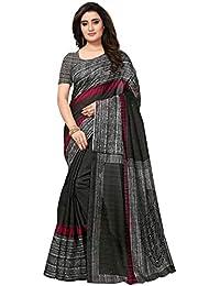 8b18224688d9d2 Varayu Women s Bhagalpuri Silk Printed Casual Wear Saree with Unstitched  Blouse Piece(Black