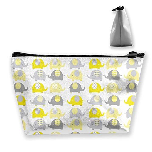 Amarillo y gris lindo elefante colección artículos de tocador organizador monedero gran bolsa de cosméticos trapezoidal cierre de cremallera