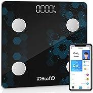 YOHOOLYO Bilancia Pesa Persona Digitale con 14 Dati di Misurazione, Bilancia Pesapersone Intelligente Bluetoot