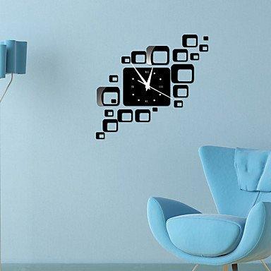 zhENfu Fallen Leaf Quartz horloges murales horloges modernes Diy acrylique Aiguilles Montres horloge murale Grand Sticker Miroir Décoration Salon,Black