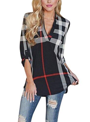 3/4 Sleeve V-neck-shirt (Nlife Women Fashion V-Ausschnitt 3/4 Ärmel Pullover Kariertes Hemd Tops Tunika-Shirt)