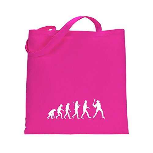 Shirtfun24 Baumwolltasche EVOLUTION BASEBALL Batter , rosa (pink) fuchsia pink rosa