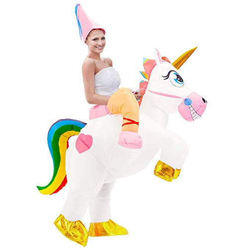 Aufblasbare Einhorn Kostüm für Erwachsene Aufblasbare Halloween Kostüm Fancy Dress Party Cosplay Kostüm Aufblasbare Einhorn Reiter Kostüm mit Hut (Halloween Party Kostüme)