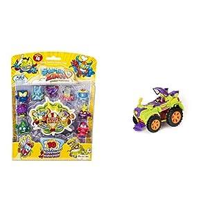SUPERZINGS - Serie 4 - Blister 10 Figuras (9 Figuras 1 Figura Dorada Super Rare)+ PlaySet Villano Truck Especial Vehículos y Figuras coleccionables, Color Verde