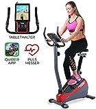 Miweba Sports Ergometer ME300 Trimmrad Cardio Heimtrainer - App Steuerung - 10 Kg Schwungmasse - Pulsgurt - Magnetbremse - LCD Display (Schwarz Rot)