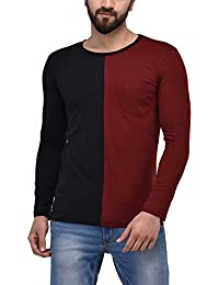 Unisopent Mens Colored Blocked T-shirt With Pocket(Maroon_Black)