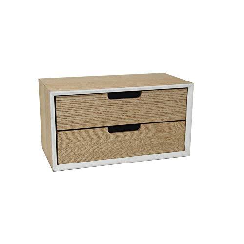 DRULINE Mini Kommode Modern Schränkchen Aufbewahrungsschrank mit 2 entnehmbaren Schubladen aus Holz Stauraum Ablagefläche Büro Wohnzimmer Küche | 30 x 15 x 16 cm| Hellbraun