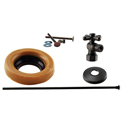 Westbrass WBD1614TBX-12 1/2-Inch Nominal Compression Cross Handle Angle Stop Toilet Installation Kit in Oil Rubbed Bronze by Westbrass -