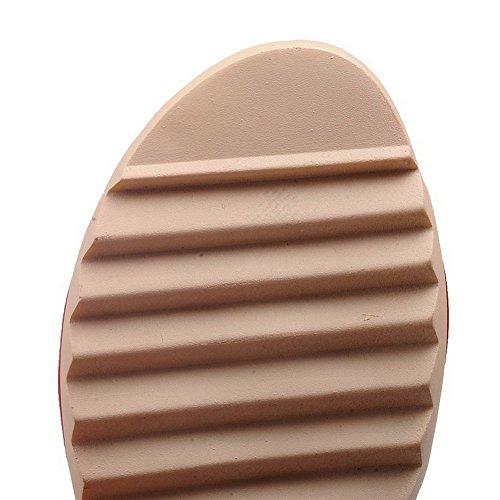 AllhqFashion Damen Niedriger Absatz Weiches Material Rein Haken-Und-Loop Offener Zehe Sandalen Rot