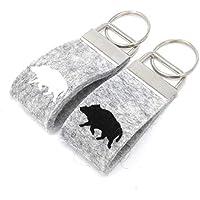 Schlüsselanhänger Wildschwein Keiler Wollfilz personalisiertes Geschenk