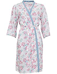 Cyberjammies 3319 Women's Olivia Pink and Sage Green Floral Print Cotton and Modal Dressing Gown Loungewear Bath Robe Robe
