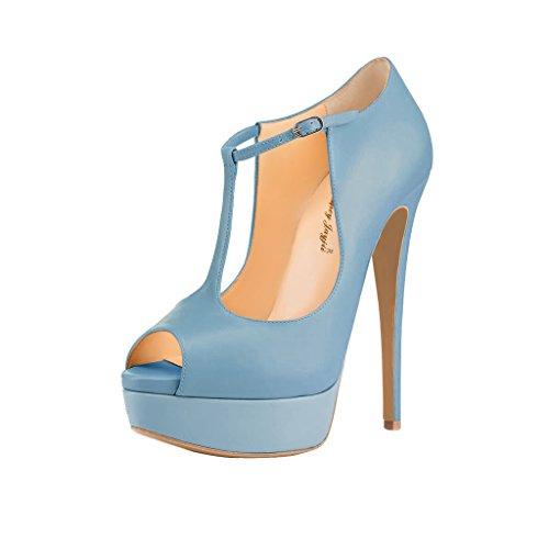 NANCY JAYJII - Femmes - Stiletto - Bleu ou Beige ou Vert - Cuir brillant véritable - Semelle compensée 2 cm - Bride de cheville - Talon aiguille - Bout rond ouvert Bleu