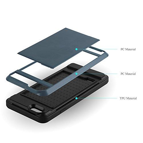 Apple iPhone 6 / 6S Hybrid Hülle in SCHWARZ von Cadorabo - Hard Case TPU Silikon Schutz-hülle Hybrid Handy-Hülle Cover im Tresor Design mit verstecktem Karten-Fach Back-Cover TRESOR-NAVY-BLAU