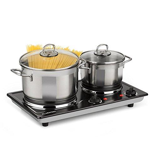 Klarstein Cookomaniac • Kochplatte • Platte • 2500 Watt Gesamtleistung • 2 Kochfelder • bis 320 Grad • Edelstahl • 2 x Thermostat • Kontrollleuchte • Anti-Rutsch-Füße • kompakt • schwarz