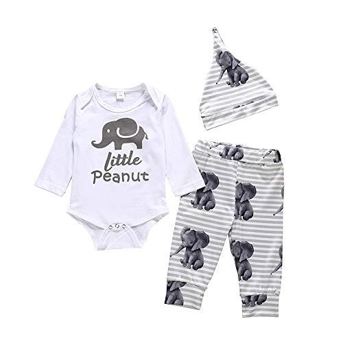 URMAGIC 3 Piezas de Conjuntos de Ropa para Bebés, Mamelucos de Manga Larga con Estampado de Elefante +Conjuntos de Pantalones y Sombreros por 3-24 Meses