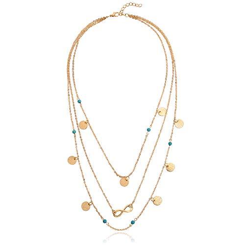 Blisfille Damen Halskette Beschriftungs Halskette Gold Anhänger Damen Kette Pullover Kette Undendliche Liebe Infinity Nummer 8 Rund Plättchen Charms Türkisch...