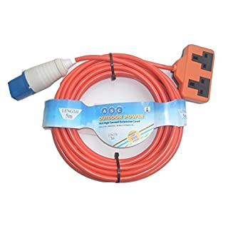 Aerials, Satellites and Cables Ltd Aerials Satellites and Cable 5 m 16 A Ceeform Plug to 13 A Double Socket Arctic Caravan/Camping Mains Hook Up Cable - Orange