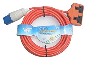 Aerials Satellites and Cable 5 m 16 A Ceeform Plug to 13 A Double Socket Arctic Caravan/Camping Mains Hook Up Cable - Orange
